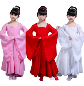 Girls Chinese folk dance costumes for children kids ancient traditional fairy hanfu Japanese drama cosplay stage performance kimono dresses